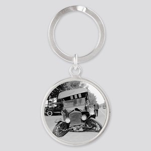 Crashed Ford Model T Round Keychain