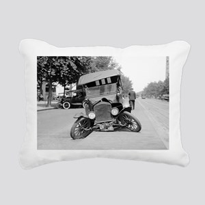 Crashed Ford Model T Rectangular Canvas Pillow