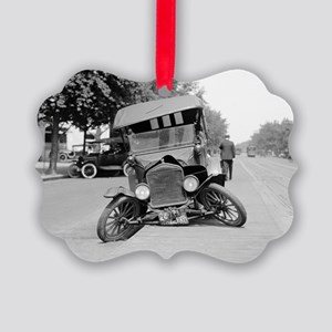 Crashed Ford Model T Picture Ornament