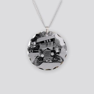 Crashed Ford Model T Necklace Circle Charm