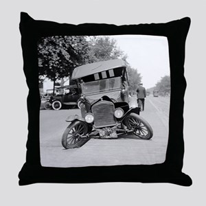 Crashed Ford Model T Throw Pillow