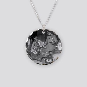 Pedal Car Traffic Stop Necklace Circle Charm