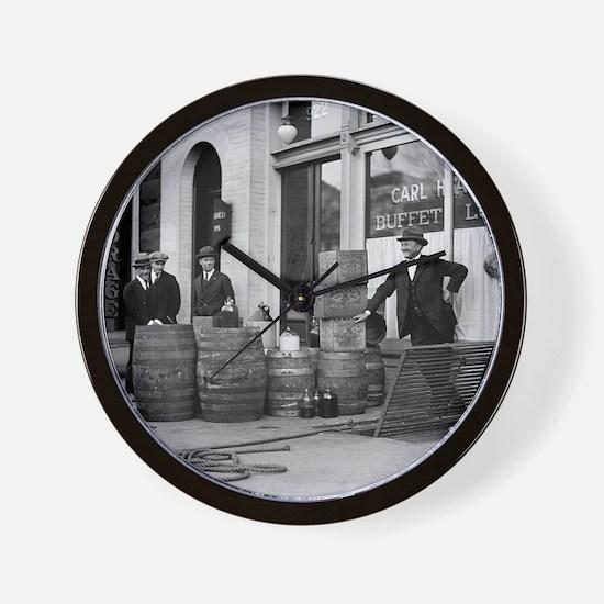 Bootleg Liquor Raid Wall Clock