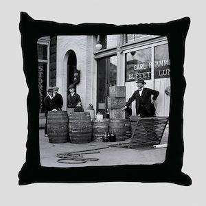 Bootleg Liquor Raid Throw Pillow