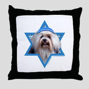 Hanukkah Star of David - Lowchen Throw Pillow