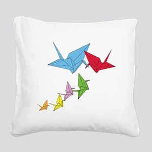 Origami Family Square Canvas Pillow