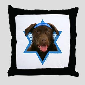 Hanukkah Star of David - Choc Lab Throw Pillow