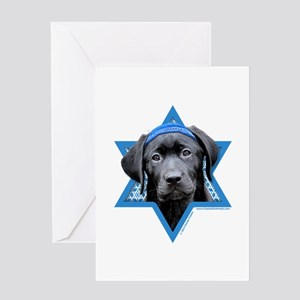 Hanukkah Star of David - Black Lab Greeting Card