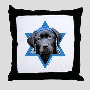 Hanukkah Star of David - Black Lab Throw Pillow