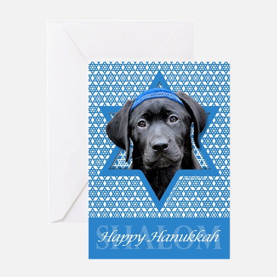 Hanukkah Star of David - Black Lab Greeting Card