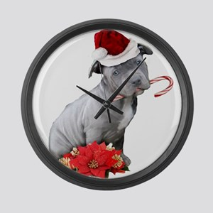 Christmas Pitbull puppy Large Wall Clock
