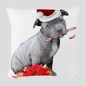 Christmas Pitbull puppy Woven Throw Pillow