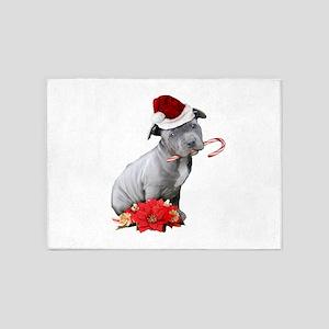 Christmas Pitbull puppy 5'x7'Area Rug