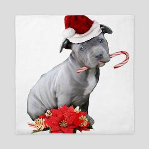 Christmas Pitbull puppy Queen Duvet