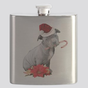 Christmas Pitbull puppy Flask