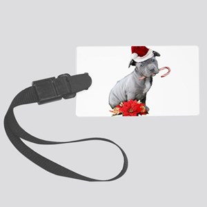 Christmas Pitbull puppy Luggage Tag