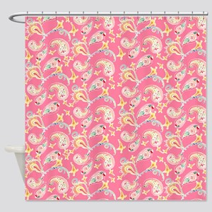 Shower Curtain Hipster Preppy Paisley Floral Print