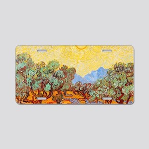 Olive Trees with Yellow Sky Aluminum License Plate