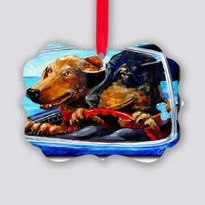 2 Dogs to Go Picture Ornament