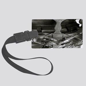 4639-armour-sword-bw-TJ-aw Large Luggage Tag
