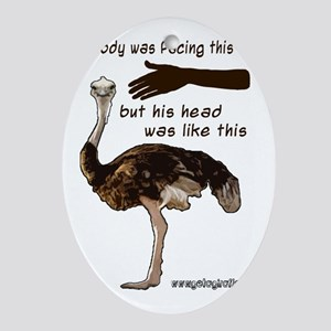 ostrich000 Oval Ornament