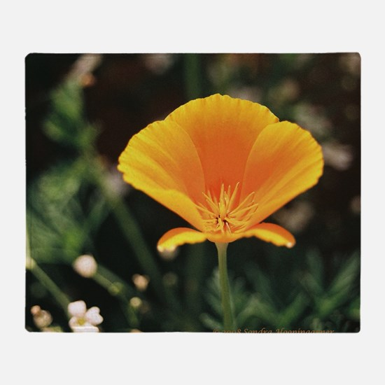 California Poppy Throw Pillow Throw Blanket