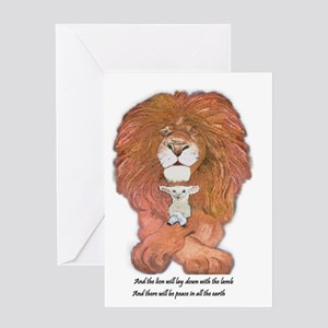3-lion and lamb very very large Greeting Card