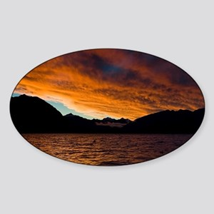 8077-Lake-Wanaka-Sunset5-7- Sticker (Oval)