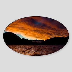 8077-Lake-Wanaka-Sunset5-7- Sticker (Oval)