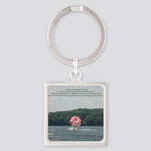 Conquer Fear Square Keychain