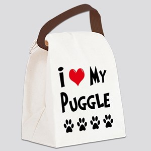 I-Love-My-Puggle Canvas Lunch Bag