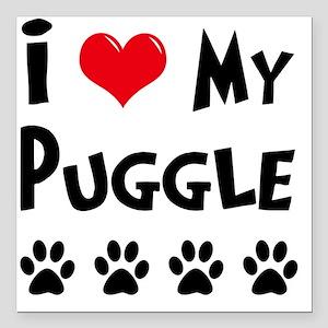 "I-Love-My-Puggle Square Car Magnet 3"" x 3"""