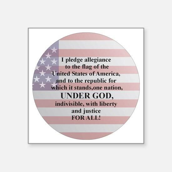 "Pledge of Allegiance Square Sticker 3"" x 3"""