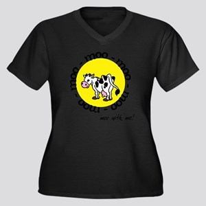 moo_with_me_ Women's Plus Size Dark V-Neck T-Shirt