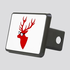 Christmas deer with nerd glasses Hitch Cover