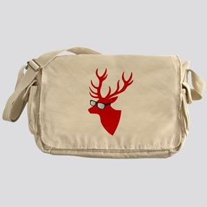 Christmas deer with nerd glasses Messenger Bag