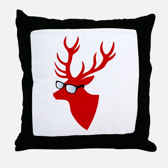 Christmas deer with nerd glasses Throw Pillow