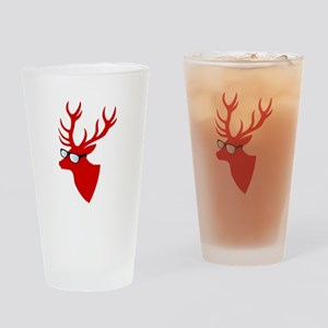 Christmas deer with nerd glasses Drinking Glass