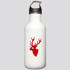 Christmas deer with nerd glasses Water Bottle
