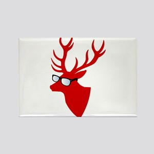 Christmas deer with nerd glasses Magnets