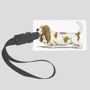 Basset-Hound-Watercolor Large Luggage Tag