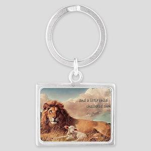 lionandlambmagnet copy Landscape Keychain