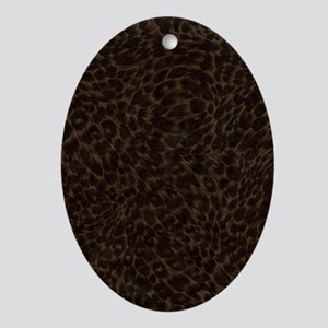 Dark Animal Print Journal Oval Ornament