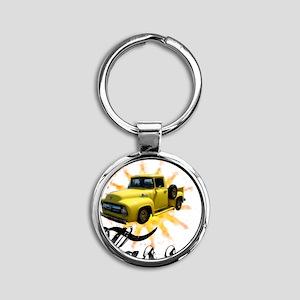 yellow_fclass_truck Round Keychain