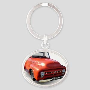 orange truck-no logo Oval Keychain