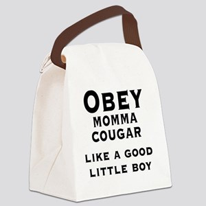 Obey Momma Cougar Like A Good Lit Canvas Lunch Bag