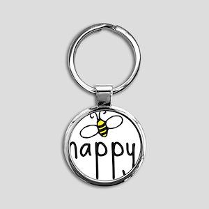 bee_happy Round Keychain