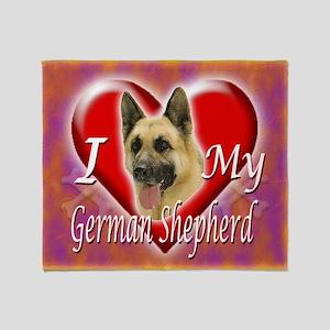 2-I Love My German Shepherd Throw Blanket