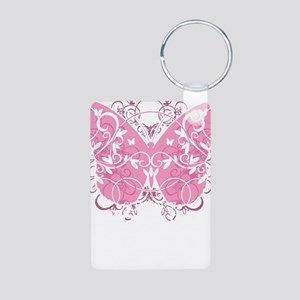 Breast-Cancer-Butterfly-bl Aluminum Photo Keychain