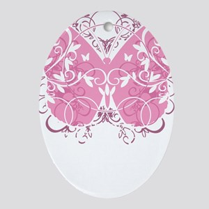 Breast-Cancer-Butterfly-blk Oval Ornament